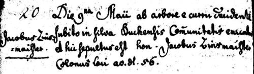 Death of Jakob Zinsmeister from the Catholic Church records of Puch, Pfaffenhofen, Bayern, Germany.