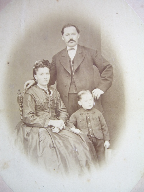Castulus and Victoria Bergmeiseter and son, 1872.  Castulus is the brother of my 2nd great-grandfather.