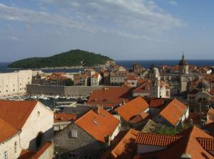 Dubrovnik rooftops with Lokrum island in the background