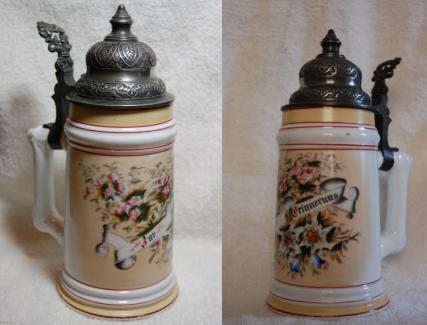 Two views of the beer stein
