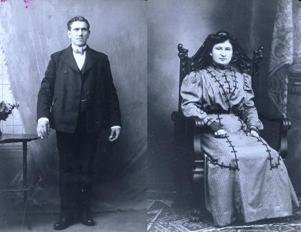 Józef and Wacława on or near their wedding day, 1902.