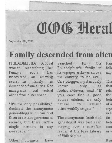 The COG Herald, September 30, 2008, buried somewhere on a ripped and damaged page