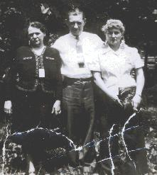 "On the left is Sophia Miller, known as ""Aunt Miller"", around 1947.  With her are Elizabeth Miller's husband, Louis Pater, and Mae Zawodna, the wife of their son Henry."