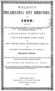Title page from McElroy's Philadelphia City Directory, 1858