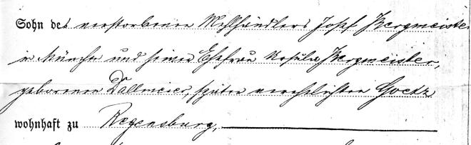 Portion of the 1897 marriage record that details the status of Joseph Bergmeister's parents.