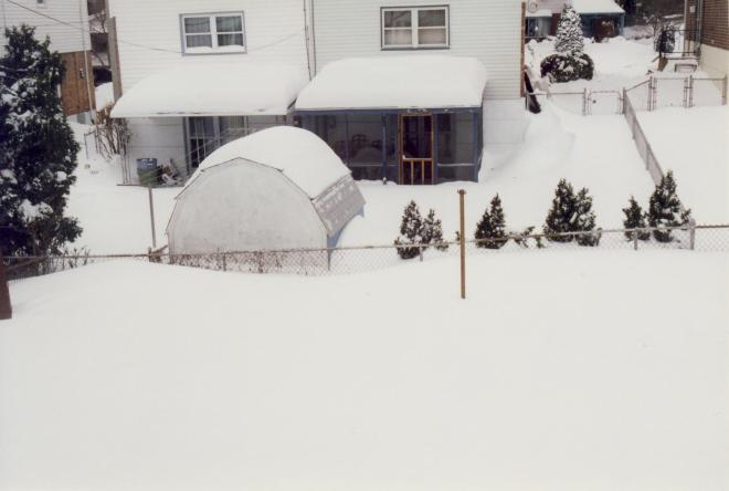 My parents' backyard after the Blizzard of '96.  Compare to the Winter 1976-77 photos above - it is the same fence.