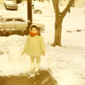 Building a snowman, circa winter of 1970-71