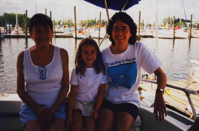 "Aunt Joan and Aunt Donna on ""the boat"" with Natalie, 2001"