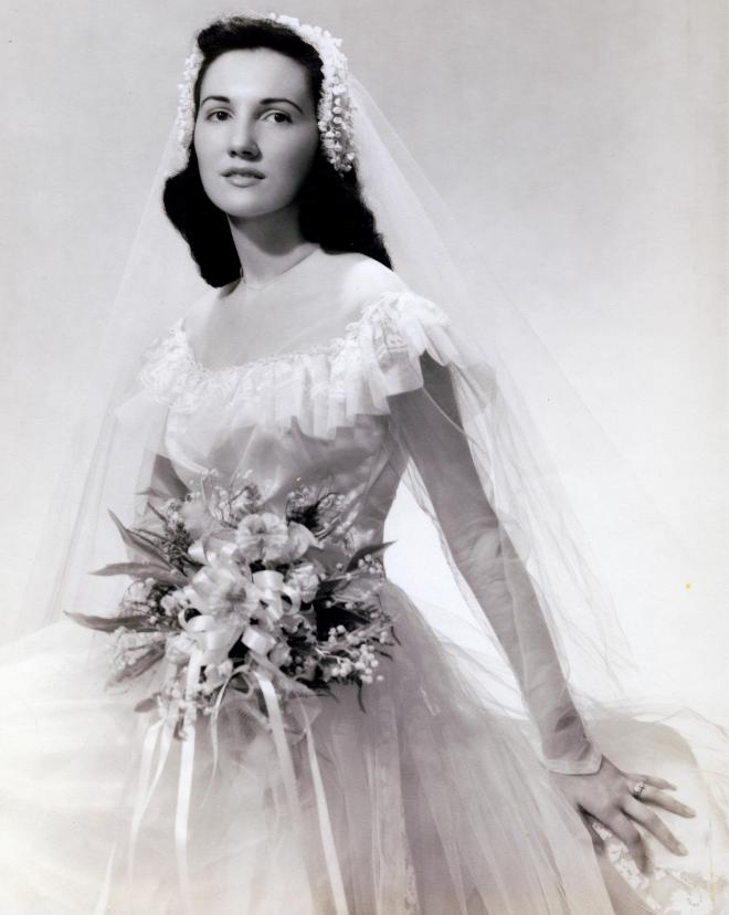 Joan's wedding portrait, 1949