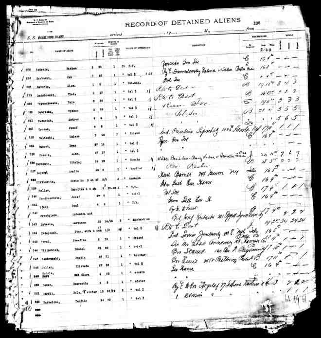 Record of Detained Aliens on the USS President Grant.  Elizabeth's entry is line #248. (Click for larger image.)