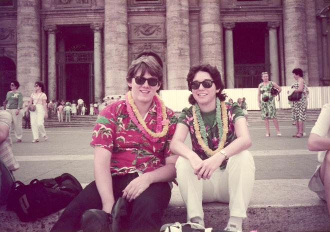 1985: Lou and Donna in front of St. Peter's, Rome, Italy.  My first real vacation - with lots of lampoonery!