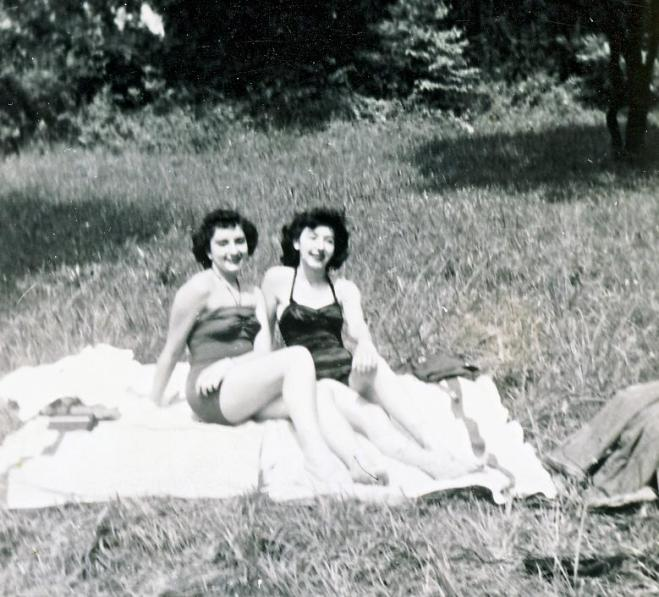 My mother and her girlfriend, circa 1950, enjoying the sun.
