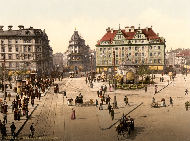 A late 19th Century postcard showing the Karlsplatz facing west.  Estimated date is 1890-1905.