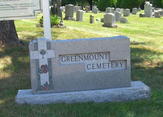 At the entrance to Greenmount Cemetery in Philadelphia