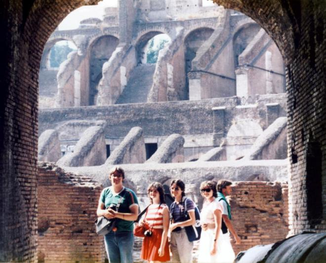 Lou, Mimi, Donna, and Lisa inside the Colosseum