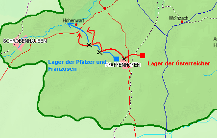 Red line shows Austrian forces; Blue shows Franco-Bavarian forces