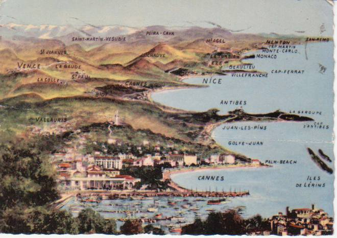 A postcard showing a map of the French Riviera and the Mediterranean