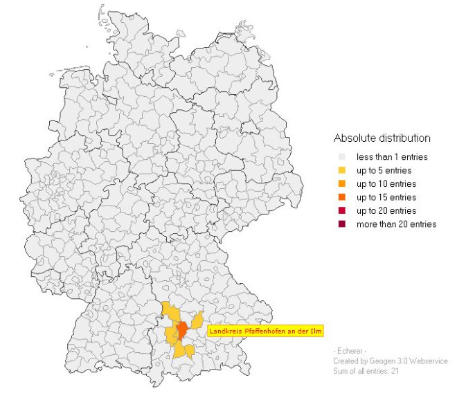 Distribution of the ECHERER surname in Germany.