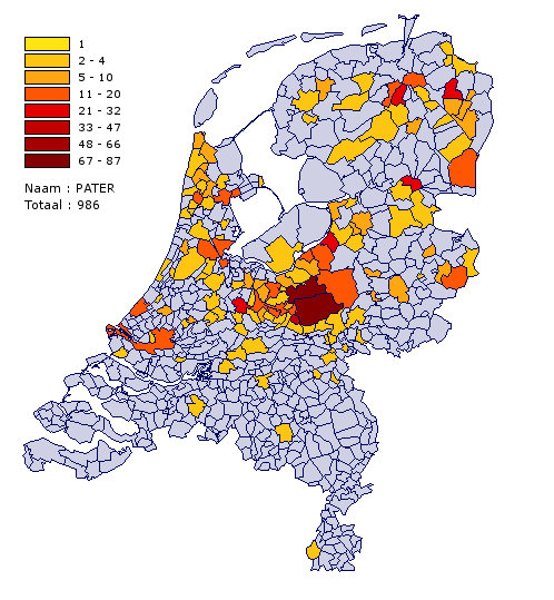 Distribution of the surname Pater in the Netherlands.