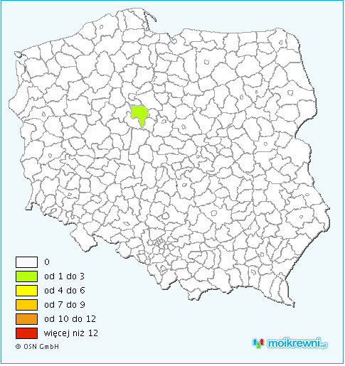 Distribution of the Slesinski surname in Poland.