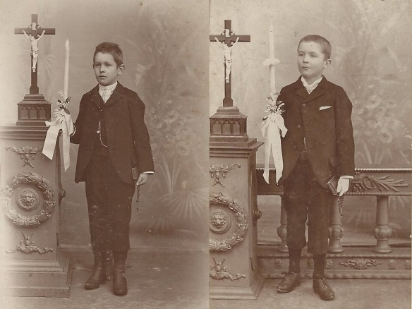 Herman on the left, Julius on the right. Julius' photo had the year 1897 on the back, so he'd have been 10 years old. This is consistent with a First Communion certificate for his half-sister who was also 10 when she received hers in 1890.