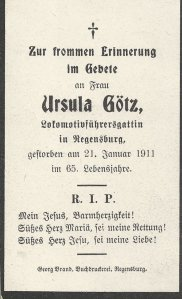 Funeral card of Ursula Götz