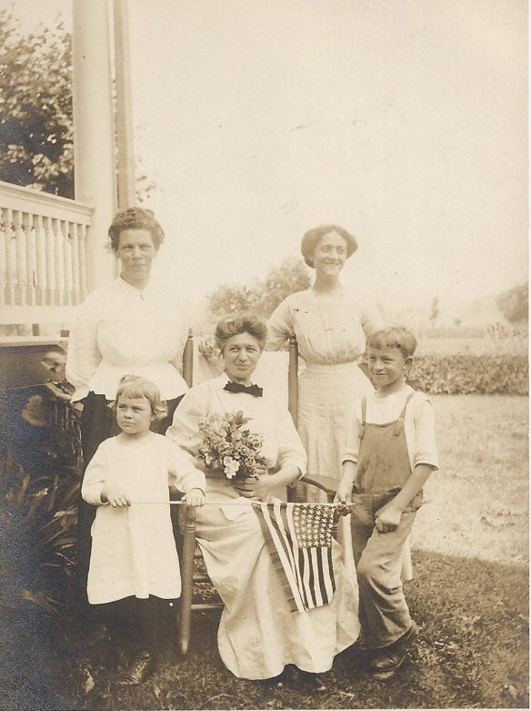 Laura (center) having some fun with family. The woman on the right is sister-in-law Teresa. The boy is Charles, son of Teresa and Ignatz and Laura's nephew. The girl may be his sister Teresa but appears too young. The woman on the left is unidentified but looks strikingly like my grandmother, which leads me to believe it is my great-grandmother Marie, Laura's sister-in-law. Approximate date:  1915-1917. Approximate place: Elizabeth, NJ