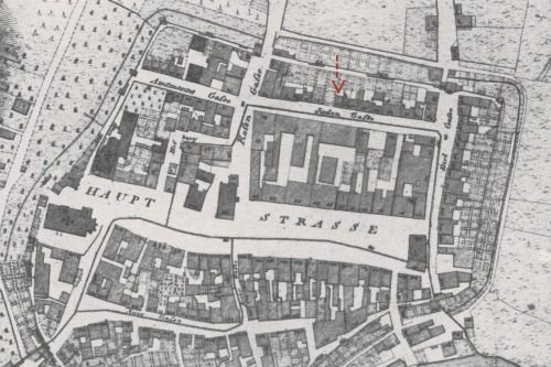 Portion of an 1810 map of Pfaffenhofen an der Ilm - the house of Ignaz Echerer is marked with the red arrow